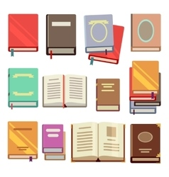 School text book flat icons vector image