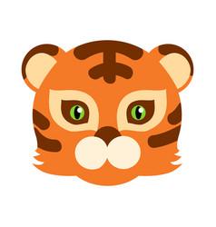 tiger cat carnival mask striped orange brown beast vector image vector image