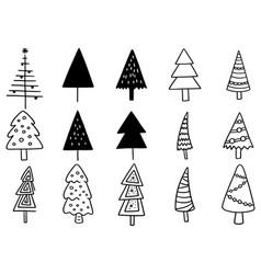 0003 set hand drawn christmas tree isolated vector