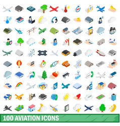 100 aviation icons set isometric 3d style vector image
