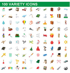 100 variety icons set cartoon style vector image