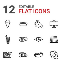 12 food icons vector