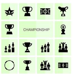 14 championship icons vector
