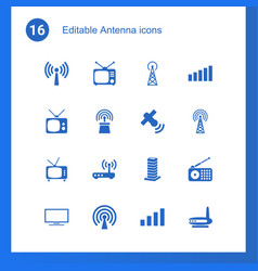 16 antenna icons vector image