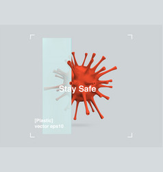 3d composition glass and plastic virus in a vector image