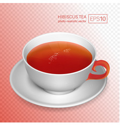 a cup of rose tea isolated on transparent vector image