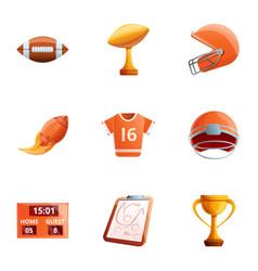 American football object icon set cartoon style vector