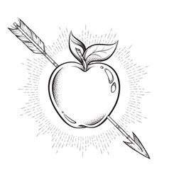 Apple target pierced with arrow line art and dot vector