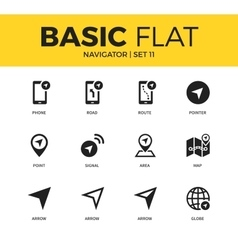 Basic set of navigator icons vector