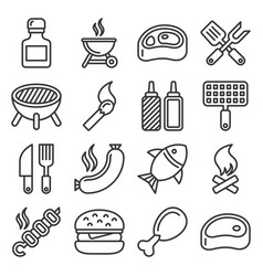 bbq and grilling icons set line style vector image