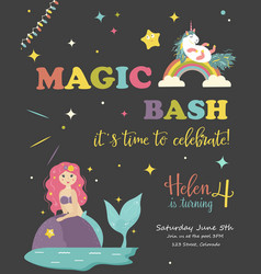 Birthday party card with unicorn and mermaid vector