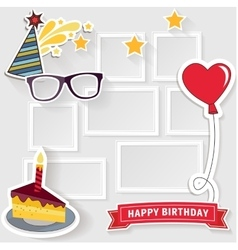 Birthday photo frame vector