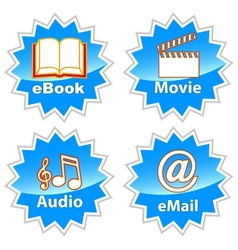 Blue Entertainment Icons vector image