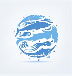 blue planet sealife stylized symbol set icons vector image