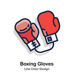 Boxing gloves line color vector