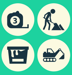 Building icons set collection of digger vector