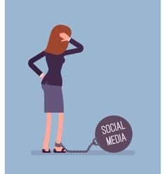 Businesswoman chained with a weight Social Media vector