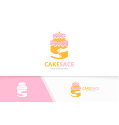 Cake and hands logo combination pie and vector