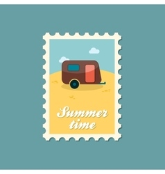 Camping trailer stamp Summer Vacation vector image