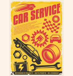 Car service vintage poster design vector