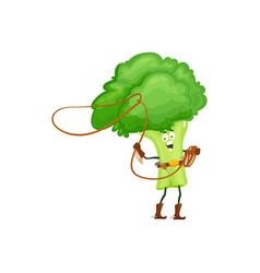 cartoon broccoli cowboy isolated icon vector image