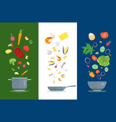 cartoon dishes and ingredients set vector image