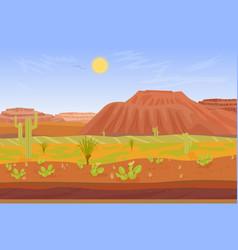 cartoon prairie desert grand canyon landscape vector image