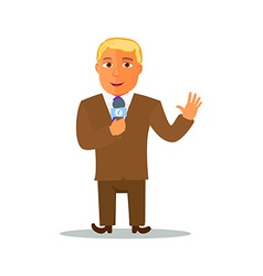 Cartoon Reporter Character with Microphone vector