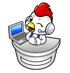 Chicken character information desk in notebook vector