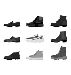 collection mens footwear isolated on white vector image