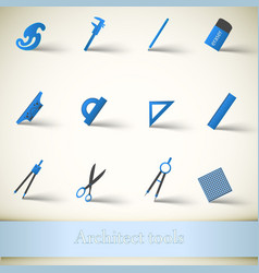 Colorful architect tools and equipment set vector