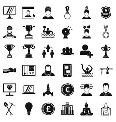 company icons set simple style vector image