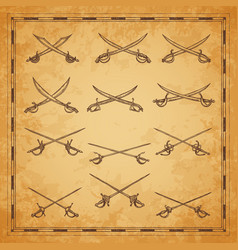 Crossed pirate sabers swords and epees sketch vector