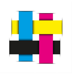 Crossed strips of paper in cmyk colors abstract vector