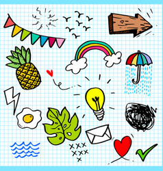 cute hand drawn doodle set with various children vector image