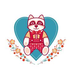 Cute raccoon greeting card vector