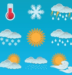 Day weather colour icons set blue sky background vector image