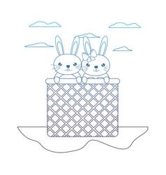 Degraded line happy couple rabbit animal inside vector