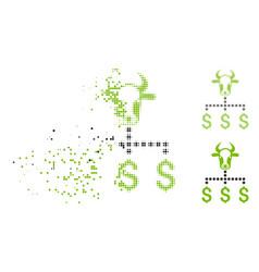 Disintegrating dot halftone cow dollar links icon vector