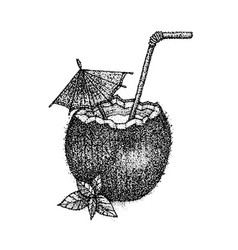 dotwork coconut cocktail vector image