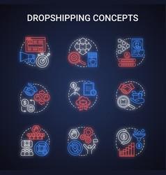 Dropshipping concepts neon light concept icons vector