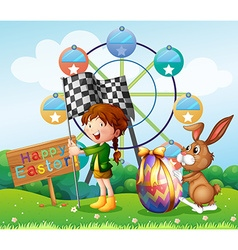 Easter festival with girl and bunny in park vector