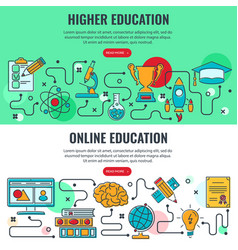 education horizontal banners with line icons vector image