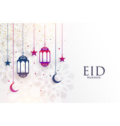Eid mubarak festival greeting with lamps and moon vector