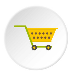 empty yellow supermarket cart icon circle vector image