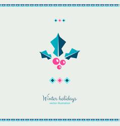 ethnic style winter mistletoe plant ornate card vector image
