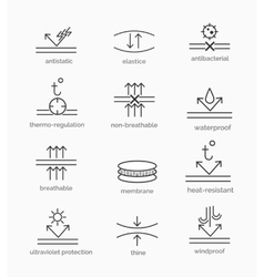 Fabric properties icons vector
