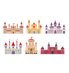 Fairytale castles medieval buildings fortress vector