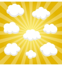 Flat clouds on yellow sky and beautifull shadow vector image