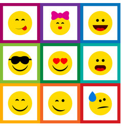 flat icon gesture set of smile love delicious vector image